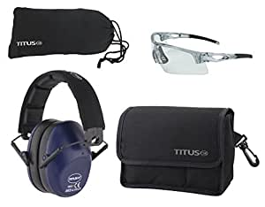 TITUS Top Combos: Safety Earmuffs & Glasses (Navy Blue - Slim, Z87.1 Clear All-Sport)