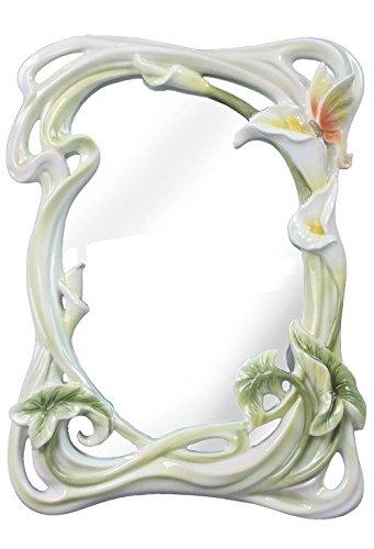(XoticBrands Decorative 11.42 Inch Tiger Mirror-Calla Lily Sculpture Figurine, (H) 11 3/8, White)