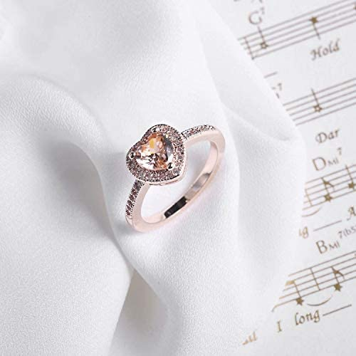 SR Luxurious Platinum-Plated Heart Shaped Cubic Zirconia Infinity Love Eternity Engagement Ring Size 5-9
