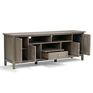 "Simpli Home Warm Shaker Solid Wood 72"" TV Media Stand, Distressed Grey"
