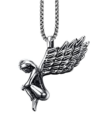 Vnox Jewelry Guardian Angel Necklace,Stainless Steel Wing Pendant,20