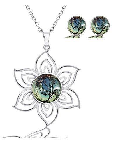 MaXing Image Custom Fashion Lotus Pattern Glass Crystal Noosa Snap Charm Necklace Pendant with 2pcs Earing Studs Jewelry Set (Insurgent-Logo)