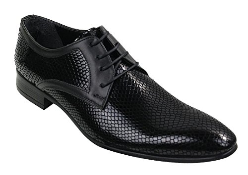 Tamboga Mens Smart Formal Laced Navy Red Black Patent Crocodile Snake Leather Shiny (Navy Snake Leather Footwear)