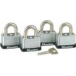 Master Lock 3009D No. 22 Warded Laminated Padlocks, 4pk