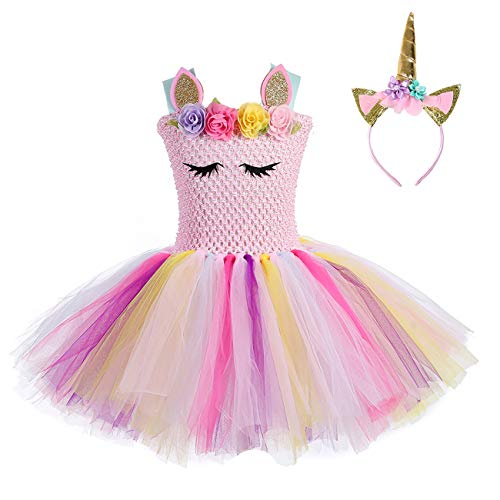 Girls Birthday Unicorn Tutu Dress Rainbow Costumes Size
