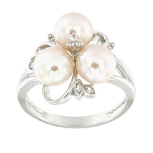 Ocean White Pearl Ring - Pearlz Ocean White Freshwater Pearl and White Topaz Cluster Ring (8)