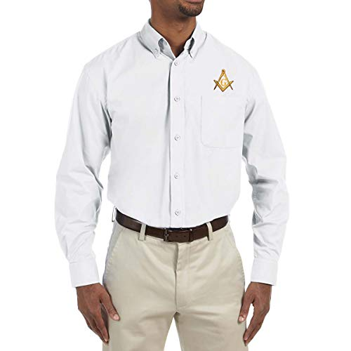 Square & Compass Embroidered Masonic Men's Poplin Button Down Dress Shirt - [White][X-Large] (Best Clothing App For Men)