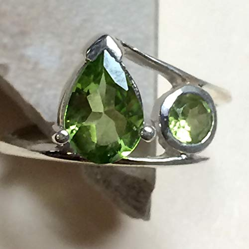 Natural 1.5ct Apple Green Peridot 925 Solid Sterling Silver 2-Stone Ring sz 6 ()
