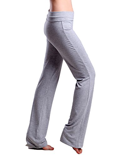 HDE Foldover Athletic Yoga Pants Gym Workout Leggings (Light Gray, Medium)