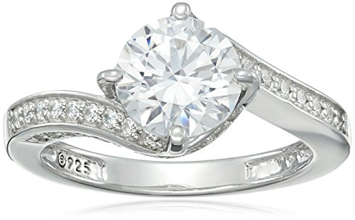 Sterling Silver Round Center Stone (Platinum-Plated Sterling Silver Swarovski Zirconia Round Center Stone Bypass Ring, Size 8)