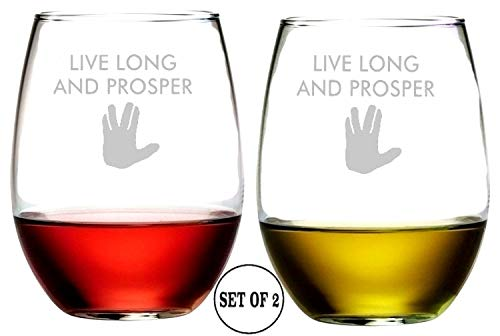 Live Long And Prosper Star Trek Inspired Stemless Wine Glasses | Etched Engraved | Great Handmade Present for Everyone | Lead Free | Dishwasher Safe | Set of 2 | 4.25