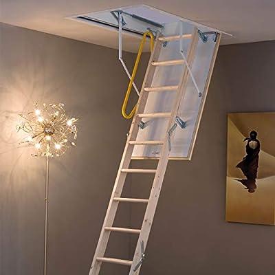 Escalera plegable de madera de 3 secciones, kit de manija y escotilla de puerta y marco – 2,8 m de altura máxima del suelo al techo – 550 mm oscilación 12 escaleras