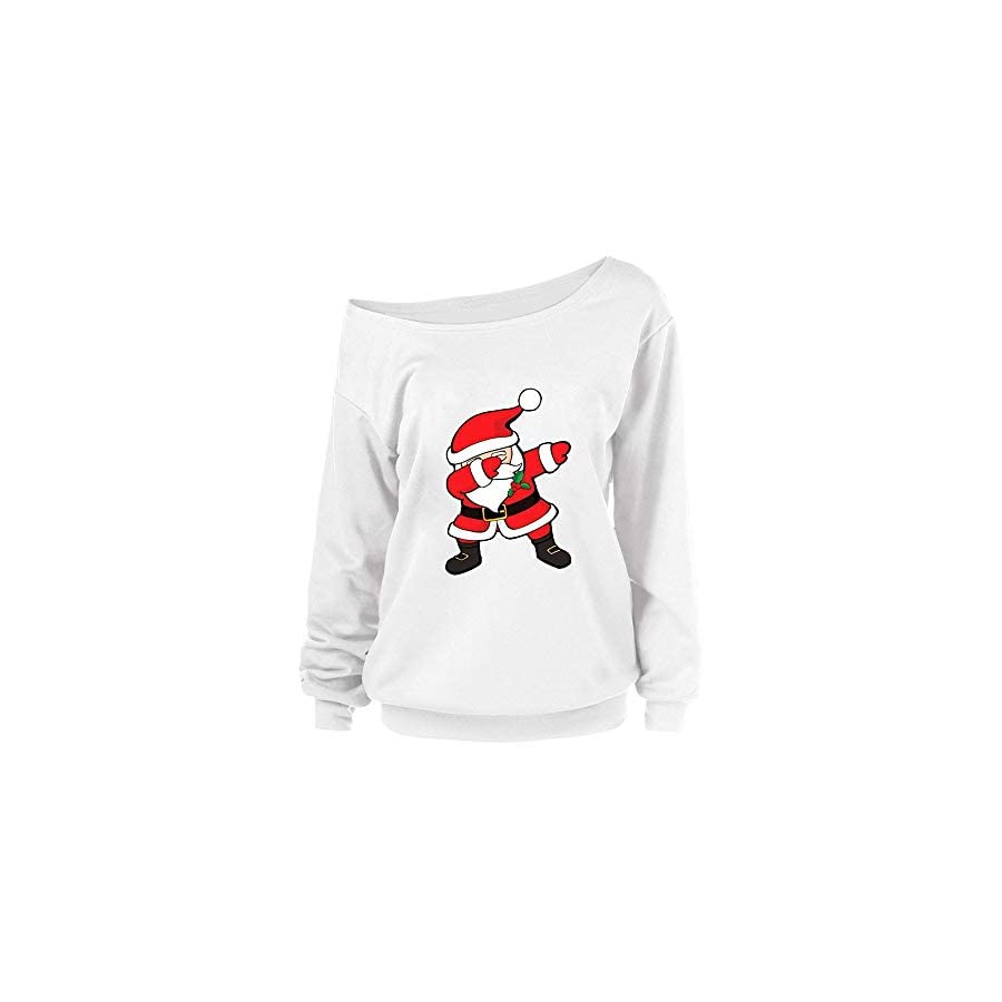 XOWRTE Womens Sweatshirt Christmas Print Fall Winter Hoodie Blouse Pullover Tops