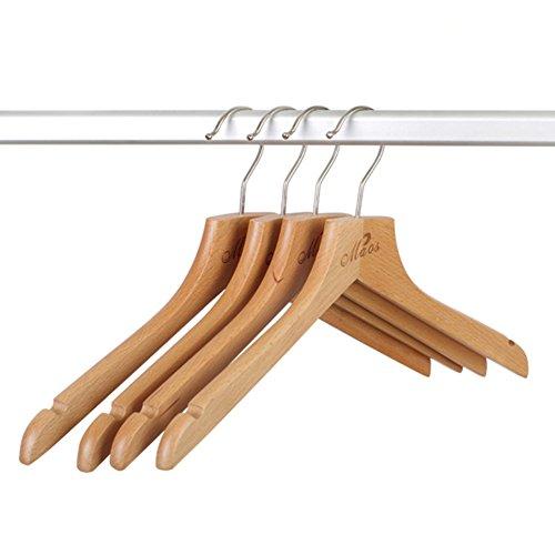 SE7VEN Beech Wood Coat Hanger Clothes Hanger Storage Shelf Solid Wood Hanger Ladies Clothes Prop Drying Rack-A ()