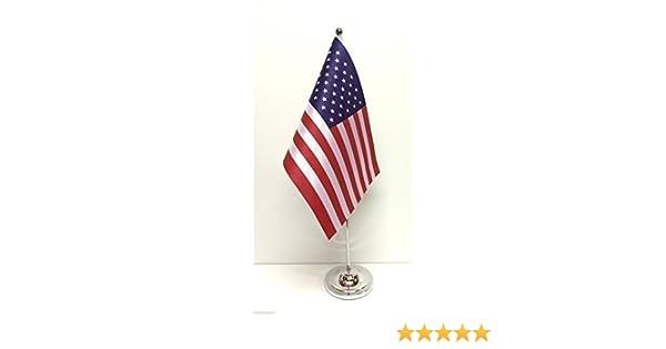 Estados Unidos de la bandera de Estados Unidos de América de raso con Base cromada de sobremesa juego de banderines: Amazon.es: Hogar