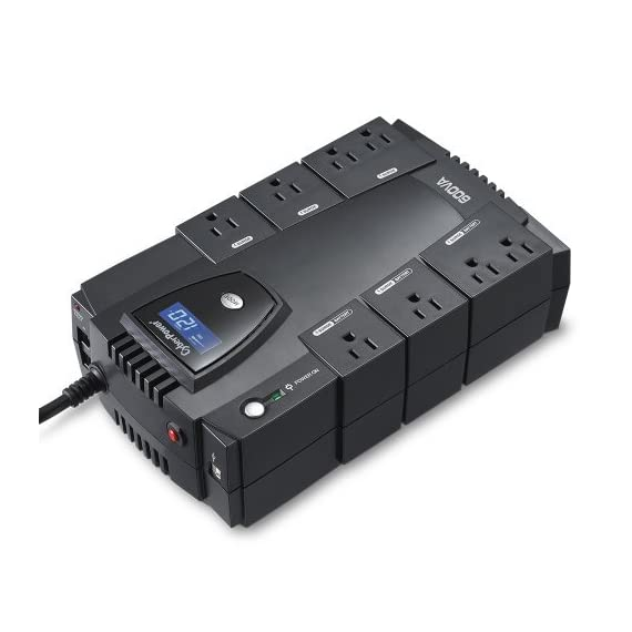 CyberPower CP600LCD Intelligent LCD UPS System, 600VA/340W, 8 Outlets, Compact 3 825VA/450W Intelligent LCD Battery Backup Uninterruptible Power Supply (UPS) System 8 NEMA 5-15R OUTLETS: (4) Battery Backup & Surge Protected Outlets, (4) Surge Protected Outlets safeguard desktop computers, workstations, networking devices and home entertainment equipment MULTIFUNCTION LCD PANEL: Displays immediate, detailed information on battery and power conditions, including: estimated runtime, battery capacity, load capacity, etc.