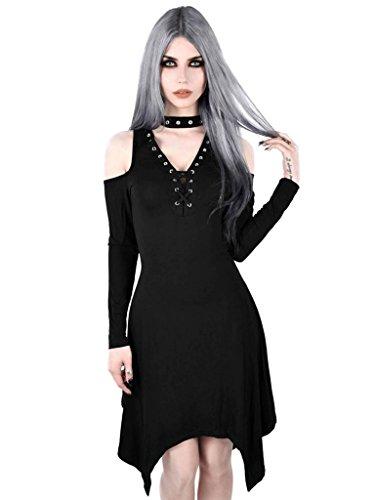 Larga Killstar Manga Para Negro Mujer Vestido Liso r66xtpU