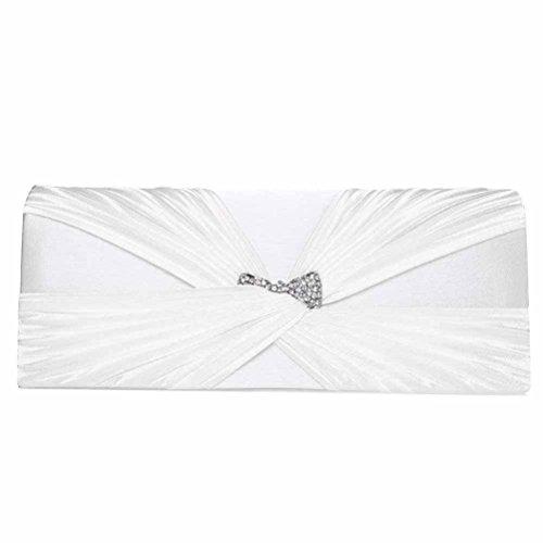 FASHIONROAD Evening Clutch, Womens Satin Crystal Bow Clutch Purse, Elegant Bridal Prom Handbag White