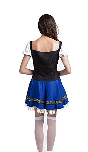 Plus Size French Maid Costume Uk (Miki Da Women`s Maid service Beer Costumes Plus size White blueM(Waist 28Inch))