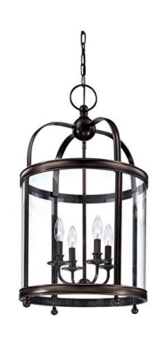 Distressed Bronze Four Light Up Lighting Enclosed Pendant with Cylinder ()