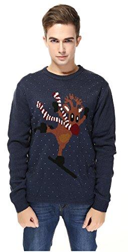 V28® Men's Christmas Reindeer Snowman Penguin Santa and Snowflake Sweater (Small, ()