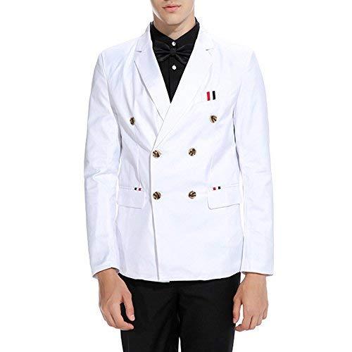 Mode Deux Casual Marque Jacket Costume Men Rows Blazer Manteau Ajusté Élégant Blanc For Printemps 1zYvnqwx