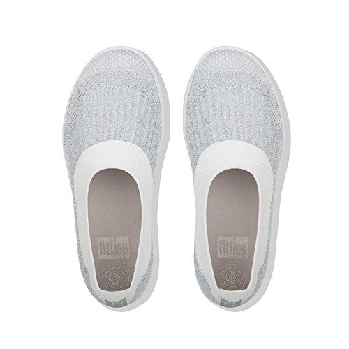 Ballerinas H95 Fitflop Silver Women's Uberknit White On Metallic Slip Urban nXdHd1q