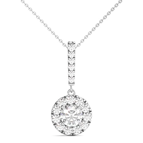 Circle Pendant Diamond Multi - Diamond Studs Forever 14K White Gold Diamond Halo Stick Pendant (1.00 Ctw, IGI USA Certified GH/I1)