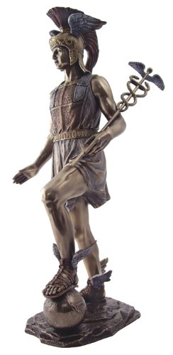 Mercury Holding Caduceus Sculpture - Greek God Hermes - H: 14.5 Inch - Medical or Mythological Gift