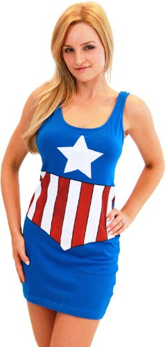 Marvel Comic Tank Dress Adult Costume Captain America - X-Large