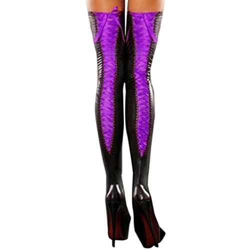 Challyhope Women Sexy Club Comfy Thigh-high Stockings Leather Lace Bow Long Socks Hot (Free, Purple) (Bow Comfy)