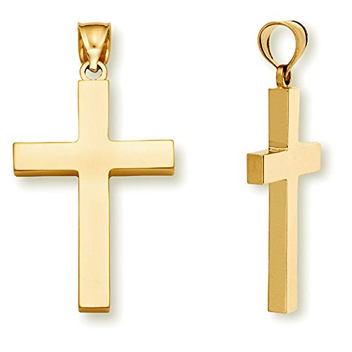 22K Solid Gold Cross Necklace Pendant for Women