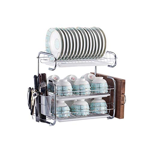 - Large Capacity Drain Rack Kitchen Multi-layer Stainless Steel Rack Kitchen Cabinet Sink Rack (Color : Silver)