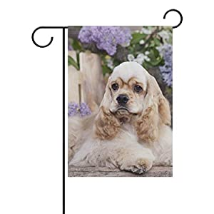 fudin Welcome Gardon Flag Dog American Cocker Spaniel Double-Sided Polyester Garden Home Flag Banner for Party Home Outdoor Decor 12x18 inch 46