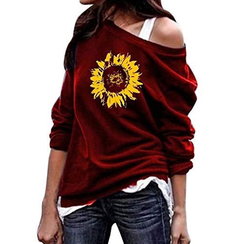 Goddessvan 2019 Women's Fashion Causal Off Shoulder Long Sleeve Sunflower Print Blouses Top Pullover Wine -