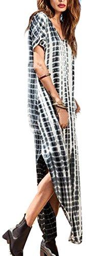 2XS Jaycargogo Side Black Dress Neck Tie Slit Short Maxi Dye Long V Sleeve Womens 00xHqOrS