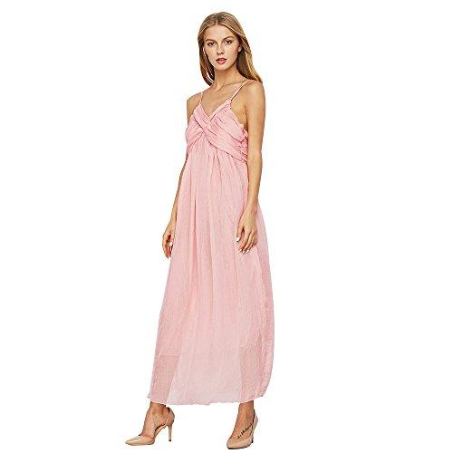 ZAFUL Mujer Elegante Vestido de Fiesta Noche Largo Verano Con Tirantes Cuello en V Sin Mangas Vestidos de la Playas Rosa