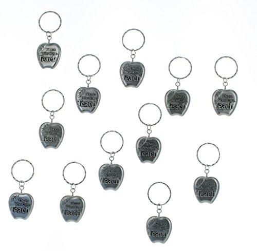 Lot of 12 Metal Apple Silvertone Teacher Keychains Class Student Gift