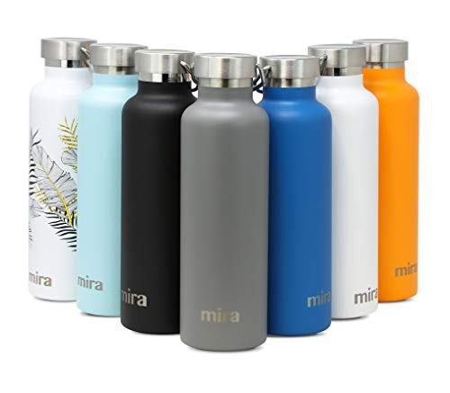 MIRA Alpine Stainless Steel Vacuum Insulated Water Bottle with 2 Lids, Durable Powder Coated Thermos | 34 oz (1000 ml) | Gray