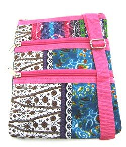Boho Patchwork Print with Hot Pink Trim Small Hipster Cross Body Shoulder Bag Purse (Hot Pink Trim)