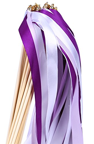 30pcs Ribbon Wands Party Streamers for Wedding Party Activities (Purple)