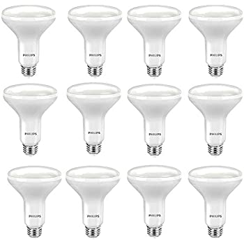 Philips LED BR30 Dimmable 650-Lumen, 2700-Kelvin, 9-Watt (65-Watt Equivalent) Flood Light Bulb with E26 Medium Base, Soft White, 12-Pack