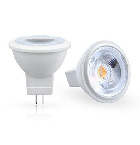 Aluxcia 3W GU4 MR11 LED Light Bulb, 12V AC/DC G4/GZ4 Bi-Pin Base Spot Light Bulb 35W MR11 Halogen Replacement for Landscape Accent Recessed Track Lighting, Daylight 6000K, 2-Pack (12v Mr11 Gz4 Base Lamp)