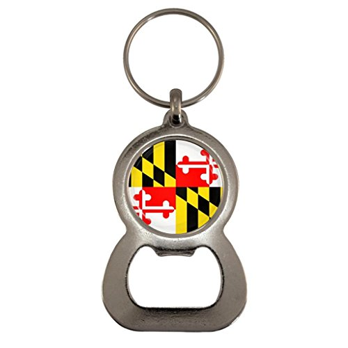 Maryland US State Flag Metal Bottle Opener Keyring