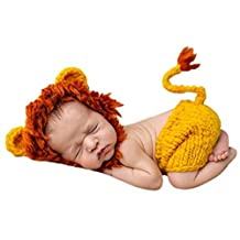 Newborn Photo Props, Photography Props, Knitted Yellow Little Lion - Yellow