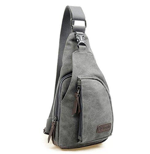 Casual Canvas Unbalance Backpack Crossbody Sling Bag Shoulder Bag Chest Bag (Gray) (Sling Bag Purse)
