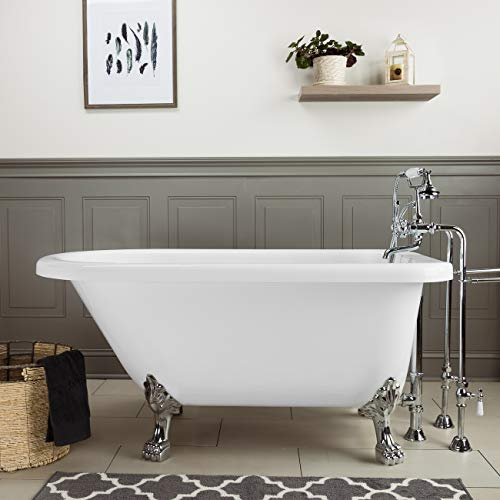Randolph Morris 54 Inch Acrylic Classic Clawfoot Tub - No Faucet Drillings - Lion Paw Feet (Faucet No Feet Lion Paw)