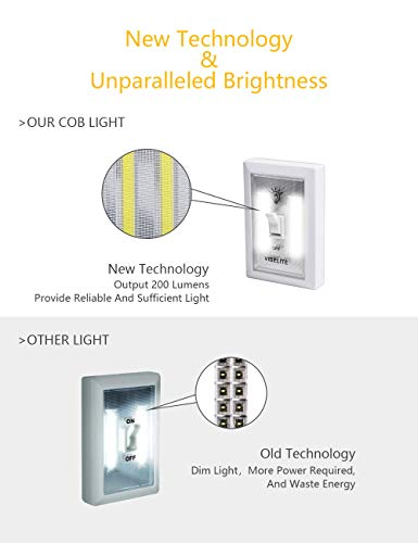 VIBELITE Closet Light, Battery Operated, Tap Light, Touch, Night, Utility, Wall Wireless Mount Under Cabinet, Shelf, Shed, Kitchen, Garage, Attic, RV, DIY(4-pack) by VIBELITE (Image #1)