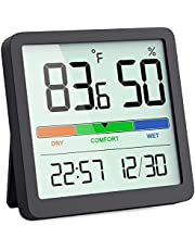 VOCOO Humidity Gauge Indoor Thermometer - Digital Indoor Humidity Sensor Room Thermometer with Temperature Humidity Monitor, Accurate Hygrometer Thermometer Meter for Home Greenhouse Wine Cellar