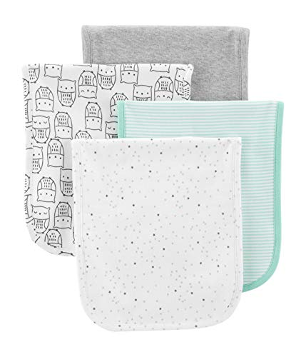 - Carter's Just One You Baby Burp Cloth 4 Pack Set Unisex, Boy Girl Mint Green Grey White Animals